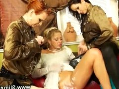 Bride getting strapon fucked from bukkake babes