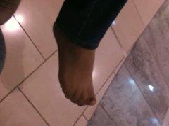 Stocking foot  tease