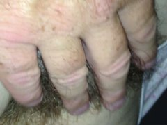 just rubbing her hairy pussy,