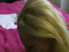 Blonde deepthroat facial cum swallow