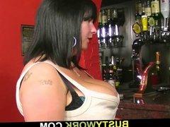 Chunky barmaid jumps on customer's cock