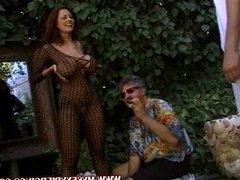 Pierced slut Donita rubbing her pussy rings