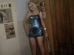 31.08.2012 - Blonde girl in short shiny dress