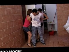 Voyeur guy getting his cock controlled by Kiki and Sandra