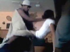 Group of black guys fuck white girl