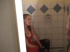Dutch wife gets fucked in the toilet by stranger