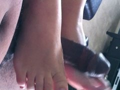 white toes, black cock...great cum shot