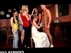 Czech girls fucks stripper and waiter at party