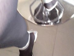 Cumshot on Silver High Heels