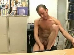 Gay gets his asshole fucked on desk