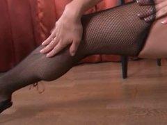 Sabina Taylor in fishnet stockings