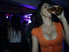 slow motion girl with big boobs love drink