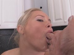 Chubby Blonde Plays in the Kitchen