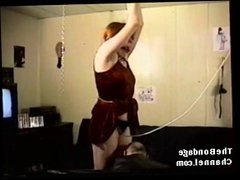 19 year old redhead tied and whipped hard