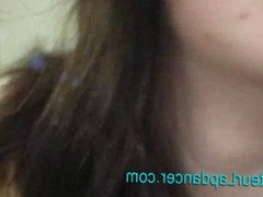 Real czech brunette lapdances for horny guy
