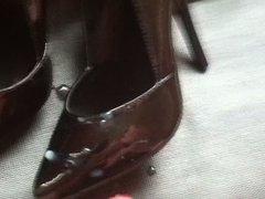 Cum on sexy black heels