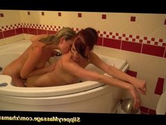 cute lesbians first slippery nuru massage
