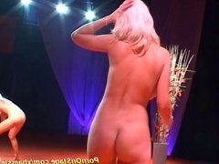 sexy lesbian dildo action on stage
