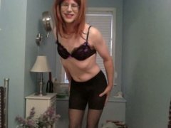 Posing and stroking in pantyhose