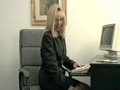 British slut Lucy G plays with herself on a chair