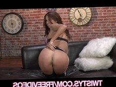 Twistys - Curvy bombshell Sabrina Maree rubs her tight pussy