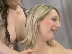Lesbian Big tit nipple suck and playing