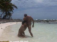 Bikini babe beach sex and cumshot