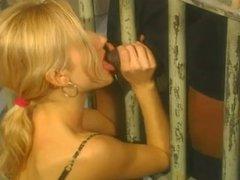 Blonde makes black prisoner happy