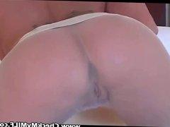 Blonde MILF in pantyhose rubbing pussy