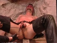 Eyefolded gay slave gets humiliate and balls punished