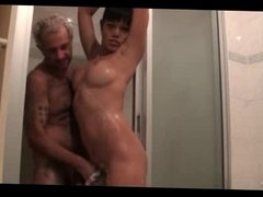 Shemale shower fuck and facial