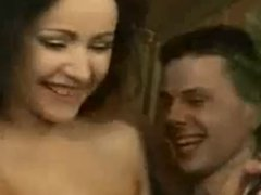 Big Orgy in Sauna with 3 Brunette babes on Funny Music