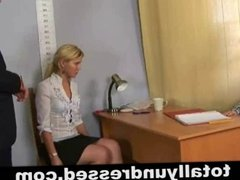 Humiliating, totally nude job interview for a secretary