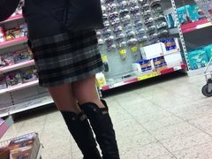 Pantyhosed Legs at Supermarket