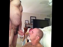 Bear cums in daddy's face