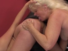 Hot babe visiting an older lesbian mom