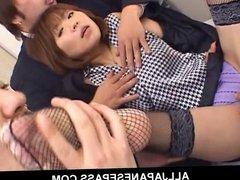 Japanese cougar Jun Kusanagi sucking cock at the office