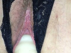 Crotchless panties reveal wet pussy