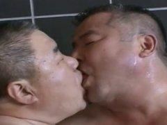 Japanese daddy in hot bathroom