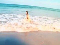 Hairy Girl on the Beach