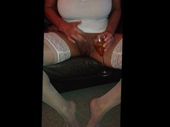 wine around her pussy lips 4 me to lick off