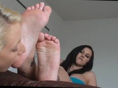 Slave licks her sexy mistress feet and soles