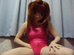 Kigurumi swimsuit girl masturbating