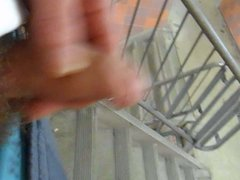 Walking down the stairwell while jerking (no cum)