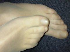 Mens pantyhose feet relaxing