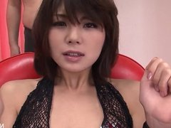 Japanese cutie gets her hairy pussy oiled up & toyed