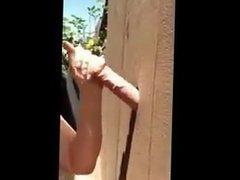Girl next door gives outdoor blowjob