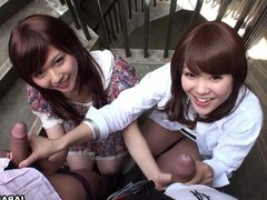 Two slutty Asian sluts sucking dudes on the stairwell