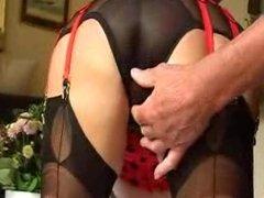 8 strap suspender belt and stockings.