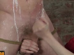 Luke is tied up for handjob and blowjob